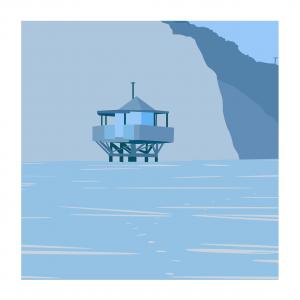 Cabane de sauveteurs bleue